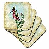 3dRose cst_130470_1 Vintage Hummingbirds Grunge Digital Art by Angel and Spot-Soft Coasters, Set of 4