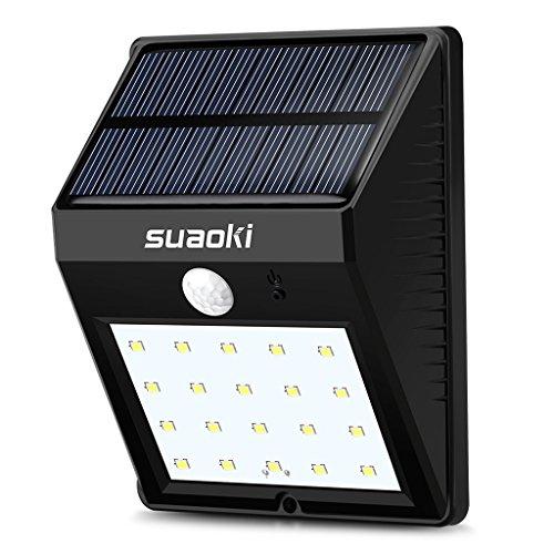 Suaoki Super Lit Solar Motion Sensor Light 20 LED 800mAh Rechargeable Battery Dim/Bright Lighting Mode Auto On/Off Waterproof Weatherproof for Garden, Backyard, Decks, Patio or Door Entrances, Black