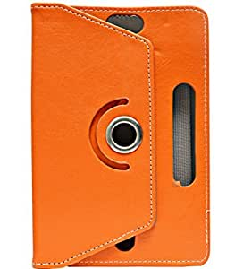 Gadget Decor (TM) PU LEATHER Rotating 360° Flip Case Cover With Stand For Tescom Turbo 2G - Orange