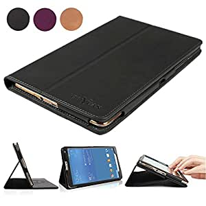 Tab S2 8.0 Case, BoriYuan Vintage Genuine Leather Magnetic Smart Cover Protective Slim Folio Flip Stand for Samsung Galaxy Tab S2 8inch with Card Slot+Stylus+Screen Protector, Black