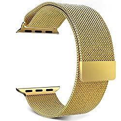 Apple Watch Band, MoKo Milanese Loop Stainless Steel Bracelet Smart Watch Strap for iWatch 42mm All Models with Unique Magnet Lock, No Buckle Needed - GOLD (Not Fit iWatch 38mm Version 2015)