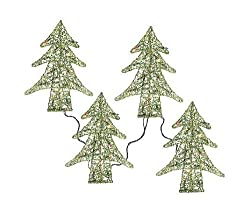 "Set of 4 Pre-Lit 14"" Beaded Walkway Christmas Trees - Multi Lights"