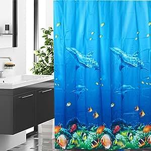 Saphrank Blue Sea Underwater World Dolphin Pattern Tropical Fish Coral Ocean Theme