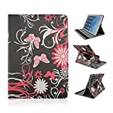 iPad Air Case,iPad Air 1 Generation Case-Red Butterfly Black 360 Rotating Magnetic Smart PU Leather Stand Flip Case with Auto Sleep/Wake Function For Apple iPad Air 1 iPad 5 Generation 2013 NEWEST(Gift Packaging Include:1x Clear LCD Screen Screen Skin Protector/1x Touch Stylus Pen/1x Clean Cloth)[USPS Fast Shipping in 24h]