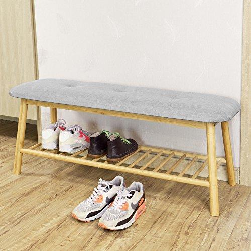 SoBuy® FSR24-HG Banc rembourré design avec 1 étage de rangement, Meuble d'Entrée Banquette confortable
