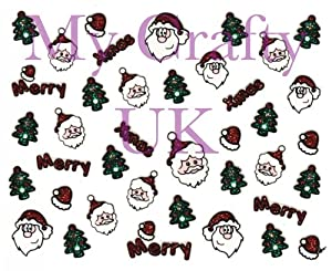Christmas Nail Art Decal / Tattoo / Sticker Santa