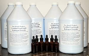 6 Gallons of 35% Food Grade Hydrogen Peroxide. Bonus 6 Amber Dropper bottles. Shipped super fast. This is a GREAT price for the REAL thing! Only $25 per gallon. WOW