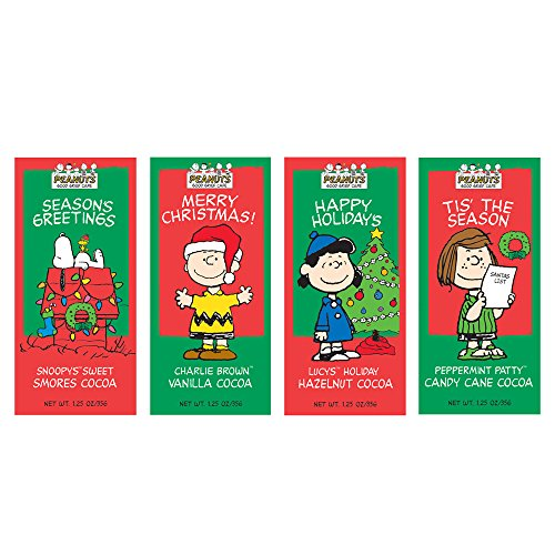Peanuts Gang Hot Chocolate Gift Set Eight 1.25 Oz Packets Vanilla, Hazelnut, Candy Cane & Smores Cocoa Mix Great Gift Or Stocking Stuffer! Kosher Certified (Christmas Hot Cocoa compare prices)