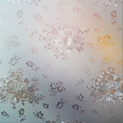 Yanqiao 3D Flowers Pattern No Glue Stati Cling Window Films Sticker Bathroom Office Kitchen Width 17.7''x 39.4'' Privacy