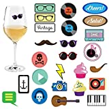 Avery Barn 25pc Mixed Vintage Design Fun Party Supply Silicone Wine Glass Markers - Set 1: Hipster Haven