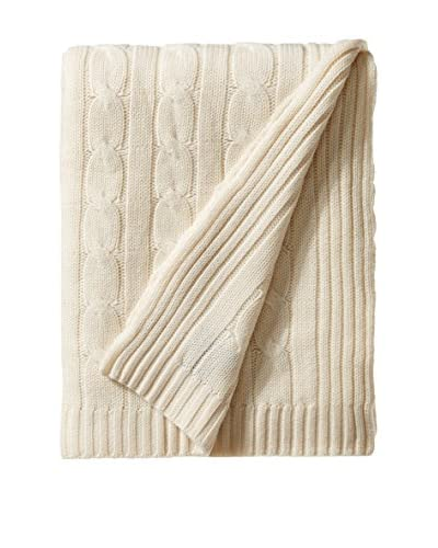 a & R Cashmere Wool Cable Knit Throw, Crème Fraiche