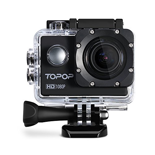 Topop ,Action Camera 2.0 Inch 1080P 30fps Full HD Sports Camera with Waterproof 170° Wide Angle Lens 12MP Action Camcorder + Mount Accessories Kits for Biking Motorcycle Surfing Diving Swimming Skiing Outdoor Sports