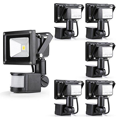 Gemeric 10W Warm White 110V Led Floodlight Pir Motion Sensor Security Outdoor Spot Lamp Ip65 Pack Of 6