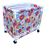 Flower Design Oxford Fabric Clothes Laundry Basket with Wheels, Size: 49.5 x 55 x 35, 1 Piece