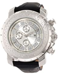"""JBW-Just Bling Men's JB-6236L-A """"Titus"""" Oversized Multi-Function Leather Band Diamond Watch"""