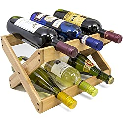 Sorbus Bamboo Foldable Countertop Wine Rack 6-bottles (Bamboo)