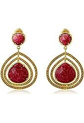 "Coralia Leets Jewelry Design ""Riviera"" Double Frame 20mm Ruby Stone Post Earrings"