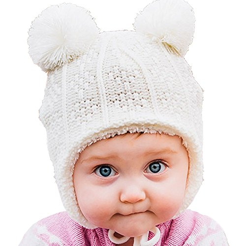 Warm Cute Baby Fall Winter Earflap Beanie Hat (S: 3-9 Months, Cream bear)
