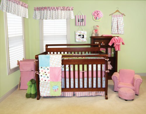 Trend Lab Baby Girl Nursery Room Cupcake 4Pc Crib Bedding Set Quilt, Bumper, Sheet, Pleat Skirt