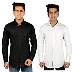 Nimegh Black, White Color Cotton Casual Slim fit Shirt For men's (Pack of 2)