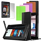 """PrimeCases� Black PU Leather With Screen Protector & Stylus for Amazon Kindle Fire 7"""" (will only fit �129 Kindle Fire 7 non-hd)by PrimeCases�"""