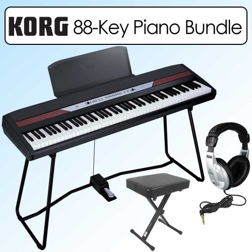 Korg SP250 Portable 88 Key Digital Piano With Keyboard Stand Bundle & Bench; Headphones;