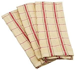 Excello Plaid Terry Towel, Tan and Red, Set of 3