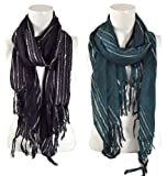 BB Accessories Artex Pashmina Scarf with Silver Metallic Stripes