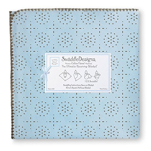 Ultimate Receiving Blanket - pastel blue/taupe grey sparklers - 1