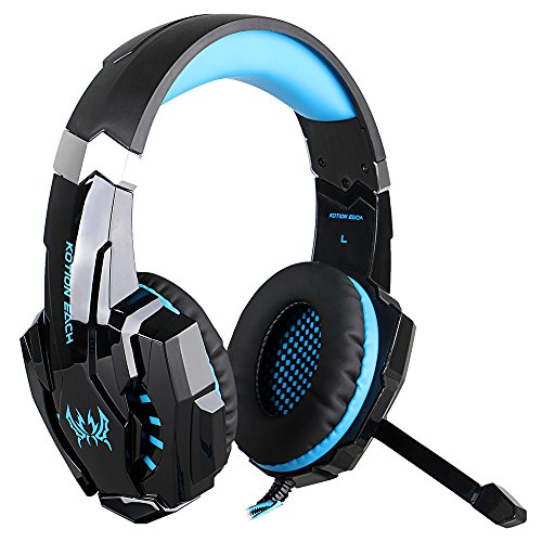 Megadream 3.5mm Over Ear Gaming Headphone with Microphone & Blue LED Light for Playstation 4, Tablet, Smartphone iPhone 7/7 Plus/6S/6S Plus/6 Samsung Galaxy Note 7 6 S7 Edge S6 Edge S5 HTC -Black+Blue