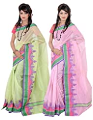 Banarasi Silk Works Mod Light Green And Light Pink Super Net Cotton Embroidered Combo Saree