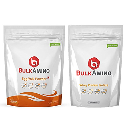 Advance Combo of Bulkamino Whey Protein Concentrate 80 % Raw protein 1 Kg (2.2 Lbs)Supplement powder + BulkAmino Egg Yolk Powder 500gram(1.1lbs) Unflavoured  available at amazon for Rs.1920