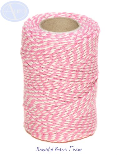 rose-pink-white-50m-roll-of-bakers-twine-100-cotton-free-shipping