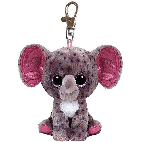 "TY Beanie Boos - SPECKS the Grey Speckled Elephant Key Clip 4"" - 1"