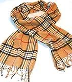 100% Cashmere Plaid Scarves (New England Plaid Classic Camel)