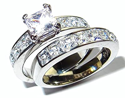 Stainless Steel Never Tarnish Flawless Lab Diamonds Princess Cut Ring And Band Set (7.29g). Stamped. Luxury suede pouch included.