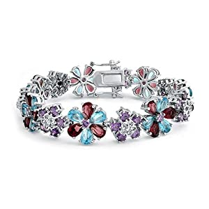 Bling Jewelry Flower Blooming CZ Simulated Aquamarine Simulated Amethyst Bracelet Rhodium Plated