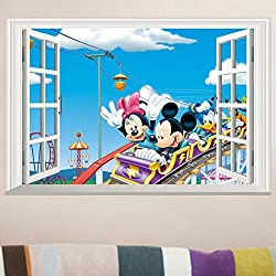 Fange DIY Removable Disney Mickey and Minnie Mouse 3d Window View Art Mural Vinyl Waterproof Wall Stickers Living Room Decor Bedroom Decal Sticker Wallpaper 23.6 x15.7
