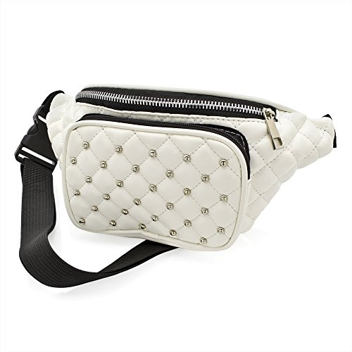 White Faux Leather Padded Studded Bum Bag with Adjustable Strap