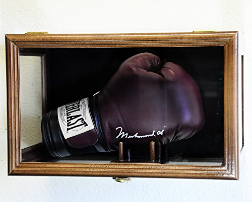 Clear Viewing Boxing Glove Display Case Cabinet Wall Rack / Free Standing (Walnut Finish) front-148464