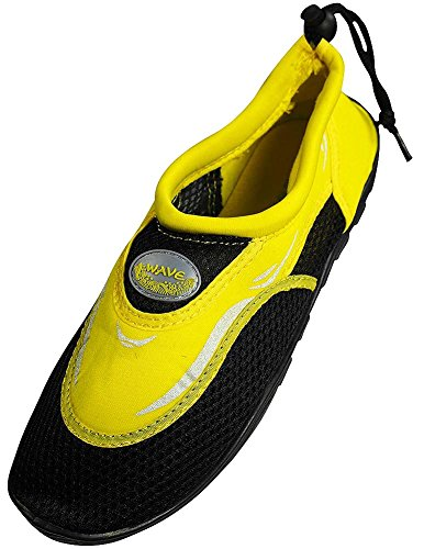 Men's Wave Water Shoes Pool Beach Aqua Socks, Yoga , Exercise, Black/Yellow S1182M, 10 D(M) US