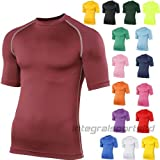Rhino Base Layer Top Adult - Unisex Short Sleeve Sports Compression Body Fit Top Maroon XXLarge
