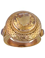 Metal Ring With Natural Citrine Stone