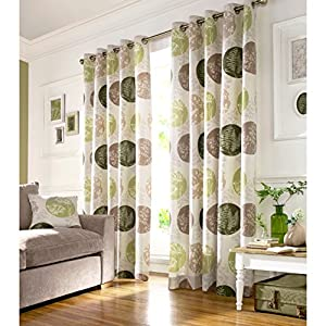 BRIGHTWOOD FULLY LINED CURTAINS Floral Motif Eyelet Beige Green Curtain Pai