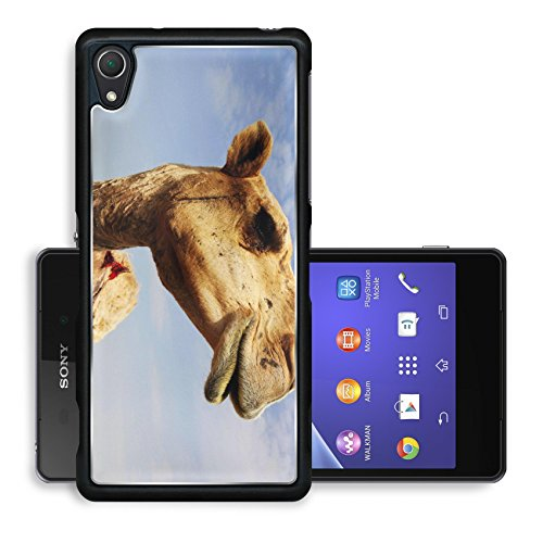 Liili Premium Sony Xperia Z2 Aluminum Snap Case A close up view of the head of a dromedary camel against a slightly cloudy sky IMAGE ID 6025115