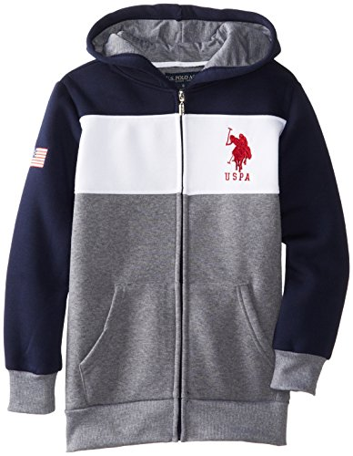 U.S. Polo Assn. Boy's Boys Fleece Color Block Jacket with Hood