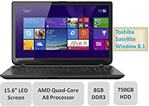 "Toshiba Satellite C55D Laptop - 15.6"" LED Backlit Screen, AMD Quad-Core A8 Processor 2.0GHz, 8GB Memory, 750GB Hard Drive, AMD Radeon R5 Graphics, DVDRW, Window 8.1 from Toshiba"