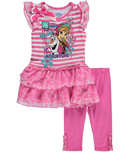 "Disney Frozen Little Girls' Toddler ""Anna + Olaf = Adventure"" 2-Piece Outfit"
