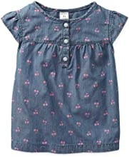 Carter39s Girls Chambray Cherry Print Top 5 Youth Blue