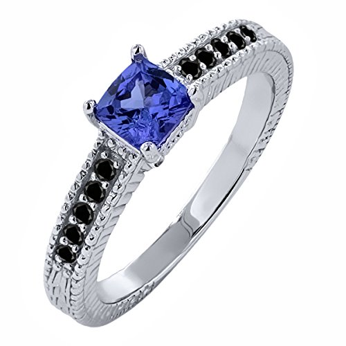 Sterling Silver Black Diamond & Genuine VS Tanzanite Women's Wedding Engagement Ring (Cushion Cut)